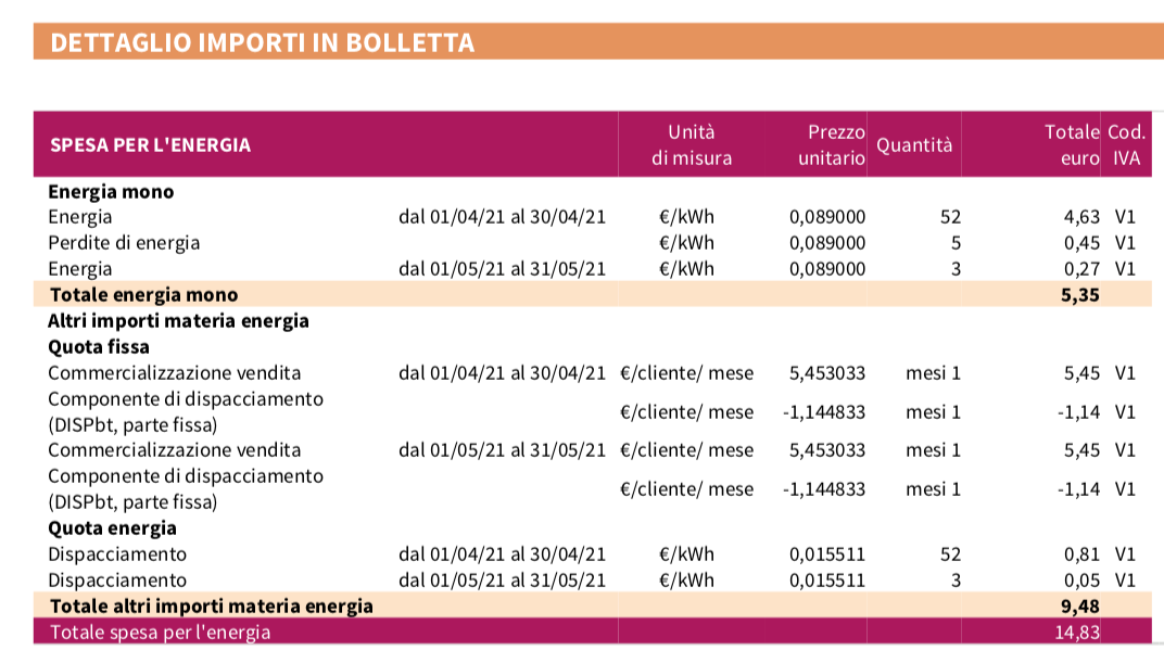 Dettaglio costo importi in bolletta Enel spesa per kwh